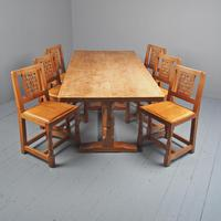 Mouseman Oak Dining Table & Set of 6 Chairs (2 of 20)