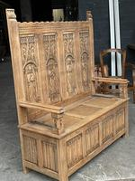 French Gothic Oak Hall Bench (5 of 8)