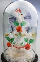 A Rare & Fine Stourbridge Type Glass Bird Fountain Frigger Under Dome C.19thc (3 of 9)