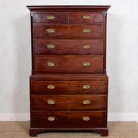 Georgian Chest on Chest of Drawers Inlaid Mahogany