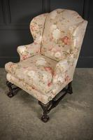 Chippendale Style Floral Upholstered Wing Chair (10 of 16)