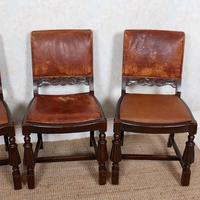 4 Carved Oak Leather Dining Chairs (7 of 12)