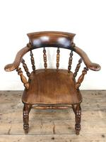 Antique 19th Century Ash & Elm Smokers Bow Chair (2 of 12)