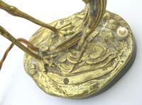 A Good Edwardian Gilt Brass Novelty Heron / Stork Table Lamp C.early 20thc (6 of 7)