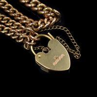 "Vintage Heart Padlock Fancy Curb 9ct 9K Gold Bracelet 6"" (5 of 11)"