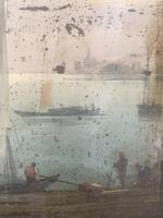 Antique Georgian or Early Victorian Landscape Oil Painting of Boats in Harbour by John Wilson Ewbank 2 of 2 (6 of 10)