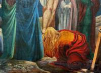 Superb 19th Century Old Master Biblical Christ Oil Portrait Painting - Gothic Oak Frame (8 of 17)