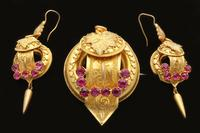 Victorian Pinchbeck Brooch & Ear Ring Set (2 of 3)