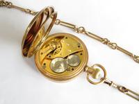 Antique Waltham Traveler Half Hunter Pocket Watch & Chain (5 of 6)
