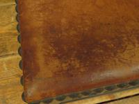 Small Vintage Wooden Black Painted Foot Stool with Brown Leather Top (3 of 17)