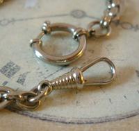 Antique Pocket Watch Chain 1910 Art Nouveau Silver Chrome Graduated Albert Nos (7 of 11)