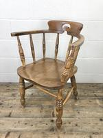 Antique Beech Spindle Back Smoker's Bow Chair (4 of 8)