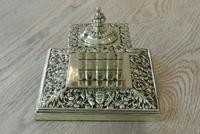 Large Victorian Brass Inkwell by William Tonks with Glass Liner WT&S c.1895 (2 of 9)