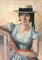 Original Oil on Board 'The Straw Boater' by Toby Horne Shepherd - Signed & Dated 1959 (2 of 3)