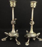 Pair of Unusual Aesthetic Movement Brass Candlesticks (3 of 6)