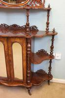 Antique Victorian Burr Walnut Display Whatnot Side Cabinet (6 of 13)