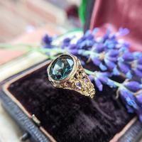 Vintage 9ct Yellow Gold Green Synthetic Spinel Dress Ring, Imitation Tourmaline (3 of 10)
