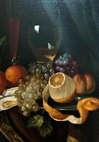 Fine Original 19thc Antique Spanish Fruit Wine & Oyster Still Life Oil Painting (8 of 13)