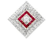 3.48ct Diamond & 0.53ct Ruby, Platinum Pendant / Brooch - Antique c.1900 (7 of 15)