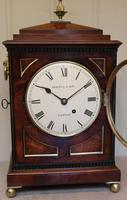 Small  Mahogany Chamfer Top Bracket Clock (7 of 10)
