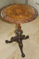 Antique 19th Century Mahogany & Burr Maple Marquetry Veneer Side Table (2 of 14)