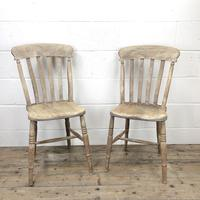 Pair of Antique Slat Back Farmhouse Kitchen Chairs (2 of 9)