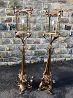 Pair of Antique Brass & Copper Lantern Lamps (10 of 10)