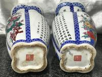 Pair Chinese Conjoined Porcelain Floral Birds Qianlong Vases (3 of 12)