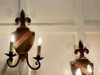 Pair of Wrought Iron Heraldic Shield Shaped Girandole Wall Mirrors (3 of 7)