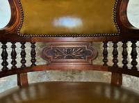 Exceptional 19thc Antique Mahogany Upholstered Library Captains Desk Armchair (4 of 12)