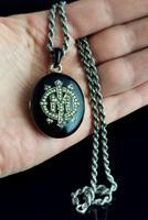 Victorian Mourning Locket, Black Enamel & Seed Pearl (12 of 13)