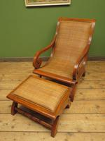 Vintage British Colonial Style Teak & Cane Plantation Chair & Footstool (8 of 17)