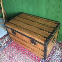 Antique French Steamer Trunk Coffee Table Old Rustic Chest and Key + Original Interior (7 of 12)