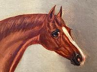 Victorian Oil Painting Chestnut Horse Portrait In Stable Signed Edwin Loder (9 of 42)