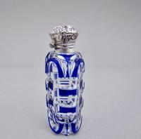 Victorian silver and Bohemian overlay Bristol blue glass scent bottle c.1890 (3 of 5)