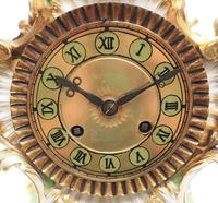 Antique 8 Day Porcelain Mantel Clock Sevres Green Floral French Mantle Clock (6 of 6)