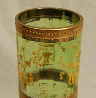 Antique Pair Moser Karlsbad Tall Green Glass Vases (6 of 10)