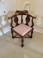Unusual Antique Victorian Oak Corner Chair