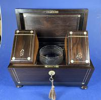 William IV Rosewood Tea Caddy with Mother of Pearl & Pewter Inlay (6 of 8)