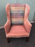 Antique English Mahogany Upholstered Wing Armchair (10 of 10)