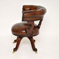 Antique William IV Leather & Mahogany Desk Chair (4 of 8)