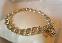 "Vintage Sterling Silver Bracelet 1976 Puffy Heart Padlock 6 1/2"" Length 21.8 Grams (2 of 12)"