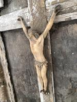 Antique French 18th Century wall mounted crucifix on gesso plaque (5 of 10)