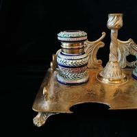 Antique Brass and Porcelain Double Inkwell with Candlestick (6 of 10)