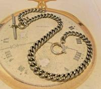 Victorian Pocket Watch Chain 1890s Antique Albo Silver Curb Link Albert With T Bar (4 of 12)