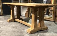 French Bleached Oak Trestle Farmhouse Dining Table (18 of 18)
