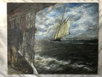 """20th Century Marine Oil Painting """"Sea Captains View From the Deck"""" Ships By Shoreline (5 of 15)"""