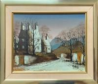 Ronald Folland Original Signed Winter Hamlet Landscape Oil Painting (11 of 12)