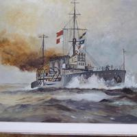 Original Painting of WW1 Battle Cruiser (5 of 5)