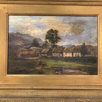 Antique large Scottish landscape oil painting of cottages in Trossachs signed Walter W Banner 1880 (7 of 11)